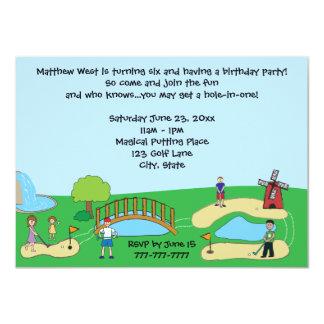 """Invitaciones mini/del minigolf de cumpleaños de la invitación 4.5"""" x 6.25"""""""