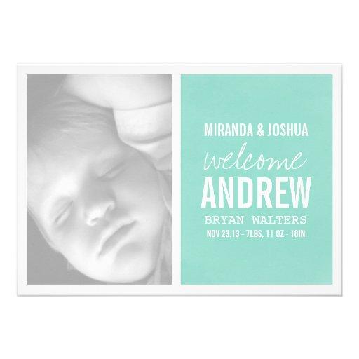 Invitaciones modernas azules del bebé de la foto comunicado personalizado
