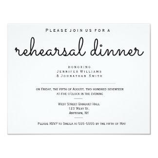 """Invitaciones modernas de la cena del ensayo del invitación 4.25"""" x 5.5"""""""