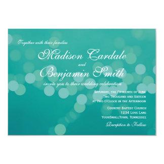"""Invitaciones modernas del boda de Bokeh del verde Invitación 4.5"""" X 6.25"""""""