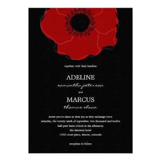 Invitaciones modernas del boda de la amapola (rojo invitacion personalizada