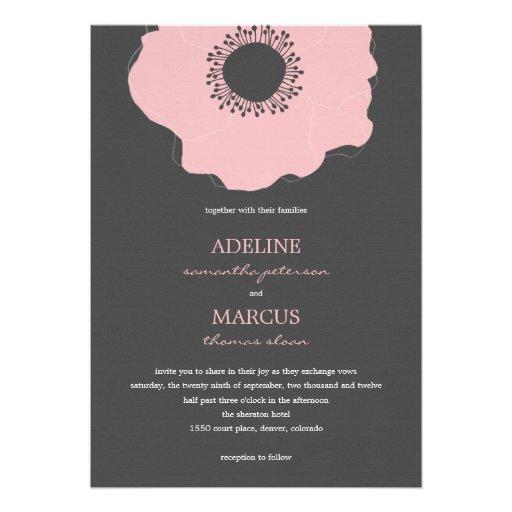 Invitaciones modernas del boda de la amapola (rosa comunicado personal