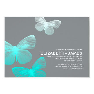 Invitaciones modernas del boda de la mariposa invitación 12,7 x 17,8 cm