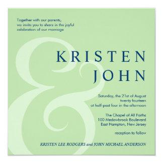 Invitaciones modernas del boda de la tipografía de invitación 13,3 cm x 13,3cm