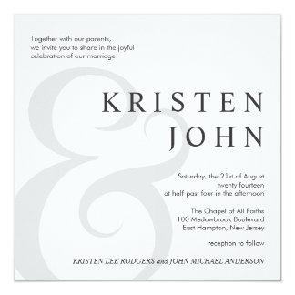"""Invitaciones modernas del boda de la tipografía de invitación 5.25"""" x 5.25"""""""