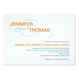 """Invitaciones modernas del boda de la tipografía de invitación 5"""" x 7"""""""