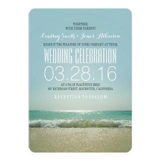 Invitaciones modernas del boda de playa con el mar invitación 12,7 x 17,8 cm