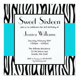 Invitaciones modernas del dulce 16 de la cebra invitacion personal