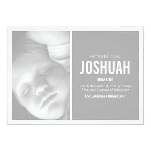 Invitaciones modernas grises del bebé de la foto comunicado