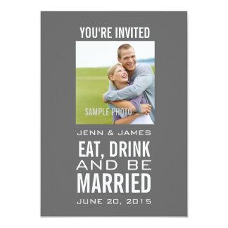 """Invitaciones modernas grises del boda de la foto invitación 5"""" x 7"""""""