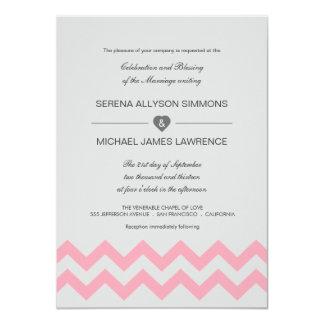 """Invitaciones modernas grises y rosadas del boda de invitación 4.5"""" x 6.25"""""""