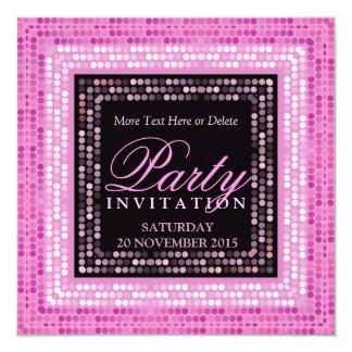 Invitaciones modernas rosadas del baile del disco anuncios personalizados