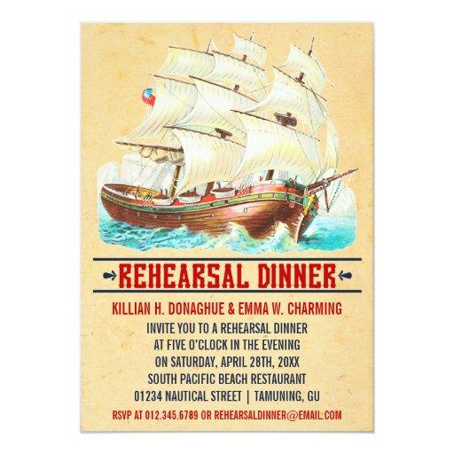 Invitaciones náuticas de la cena del ensayo del invitación personalizada