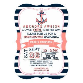 """Invitaciones náuticas de la fiesta de bienvenida invitación 5"""" x 7"""""""