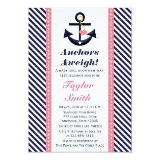 Invitaciones náuticas de la fiesta de bienvenida invitación 12,7 x 17,8 cm
