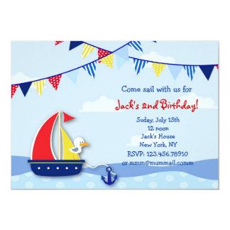 Invitaciones náuticas de la fiesta de cumpleaños invitación 12,7 x 17,8 cm