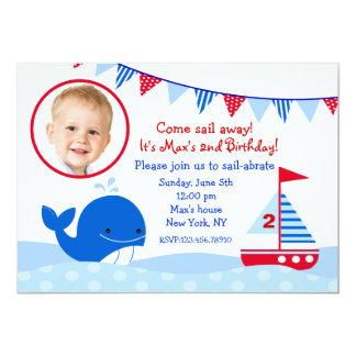 """Invitaciones náuticas de la fiesta de cumpleaños invitación 5"""" x 7"""""""