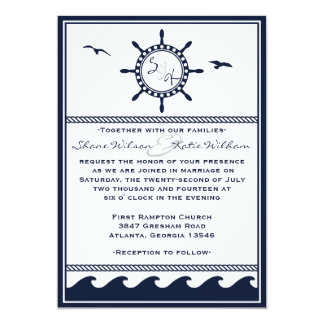 """Invitaciones náuticas del boda de los azules invitación 5"""" x 7"""""""