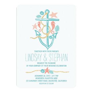 Invitaciones náuticas del boda de playa invitación 12,7 x 17,8 cm