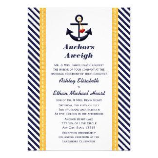 Invitaciones náuticas del boda del ancla amarilla