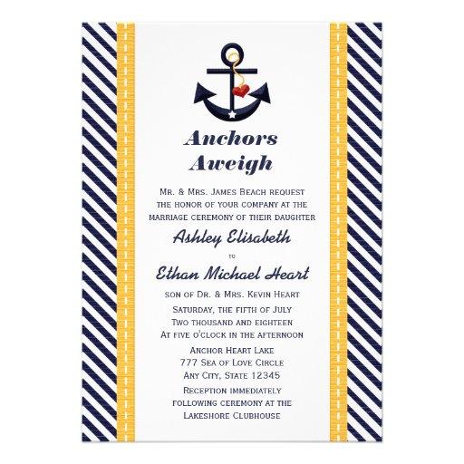Invitaciones náuticas del boda del ancla amarilla  comunicado
