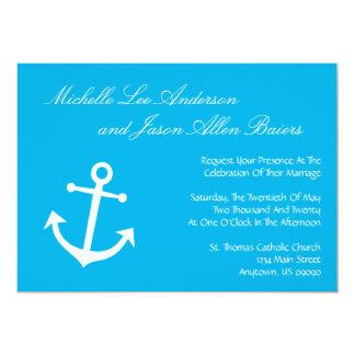 Invitaciones náuticas del boda del ancla del barco invitación
