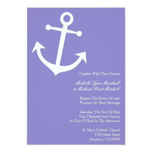 Invitaciones náuticas del boda del ancla del barco invitación 12,7 x 17,8 cm