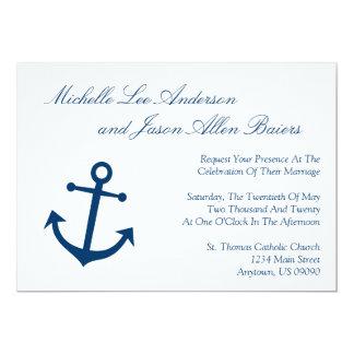 Invitaciones náuticas del boda del ancla del barco invitacion personal