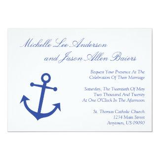 Invitaciones náuticas del boda del ancla del barco anuncio