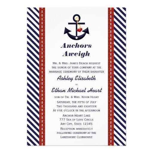 Invitaciones náuticas del boda del ancla roja de l anuncio
