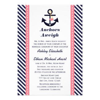 Invitaciones náuticas del boda del ancla rosada de invitación