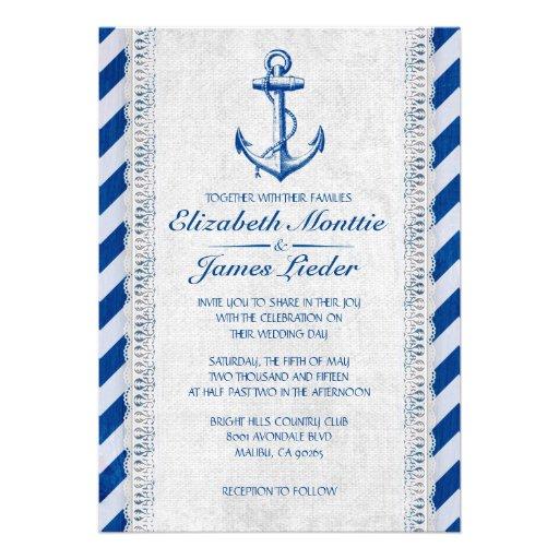 Invitaciones náuticas del boda del ancla rústica invitación