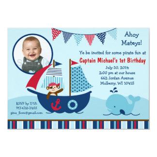 Invitaciones náuticas del cumpleaños de la ballena invitación 12,7 x 17,8 cm