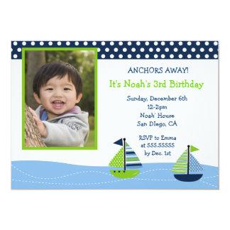Invitaciones náuticas del cumpleaños de la foto de invitación 12,7 x 17,8 cm