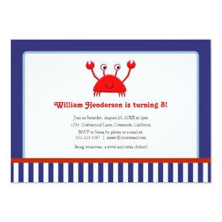 """Invitaciones náuticas del cumpleaños del cangrejo invitación 5"""" x 7"""""""