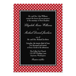 """Invitaciones negras blancas rojas del boda del invitación 5"""" x 7"""""""