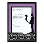 Invitaciones negras, blancas y púrpuras del boda comunicado