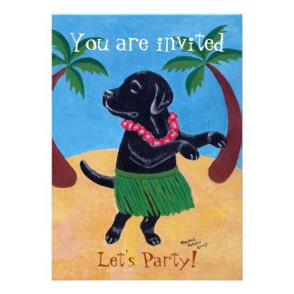 Invitaciones negras de la fiesta de cumpleaños de