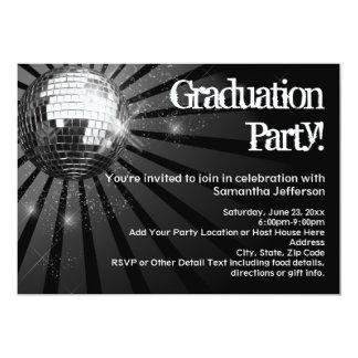 """Invitaciones negras de la fiesta de graduación de invitación 5"""" x 7"""""""