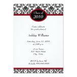 Invitaciones negras de la graduación del damasco invitación 12,7 x 17,8 cm