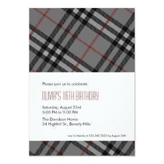 Invitaciones negras de la tela escocesa del invitación 12,7 x 17,8 cm