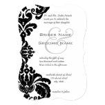 Invitaciones negras del boda del damasco del invitación 12,7 x 17,8 cm