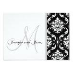 Invitaciones negras del boda del monograma del invitación 12,7 x 17,8 cm