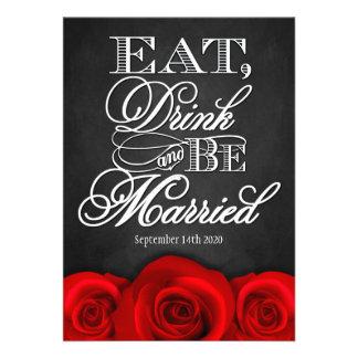 Invitaciones negras del boda del rosa rojo de la p