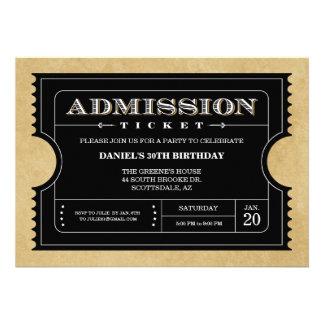 Invitaciones negras del boleto