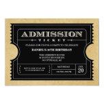 Invitaciones negras del boleto invitación 12,7 x 17,8 cm
