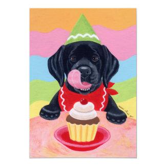 Invitaciones negras del cumpleaños del perrito del invitación 12,7 x 17,8 cm