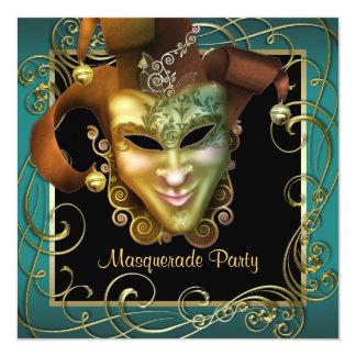 Invitaciones negras del fiesta de la mascarada del invitacion personalizada
