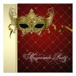 Invitaciones negras del fiesta de la mascarada del comunicado personalizado