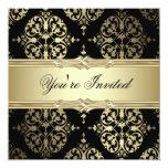 Invitaciones negras del fiesta del damasco del oro anuncios personalizados